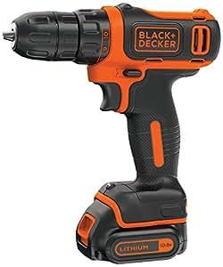 BLACK+DECKER BDCD12 10.8V Li-Ion Cordless Drill(Orange, 3-Pieces)