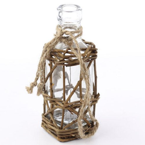 Factory Direct Craft® Set of 2 Beautiful Woven Willow Wrapped Jars for Displaying Florals, Trinkets, or Crafting - 1
