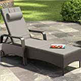CorLiving PRS-850-R Riverside Patio Reclining Lounger, Mid Grey