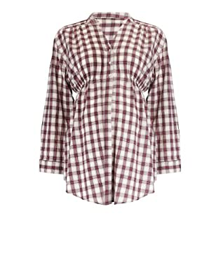 Maternity Elasticated Green and Pink Check Shirt