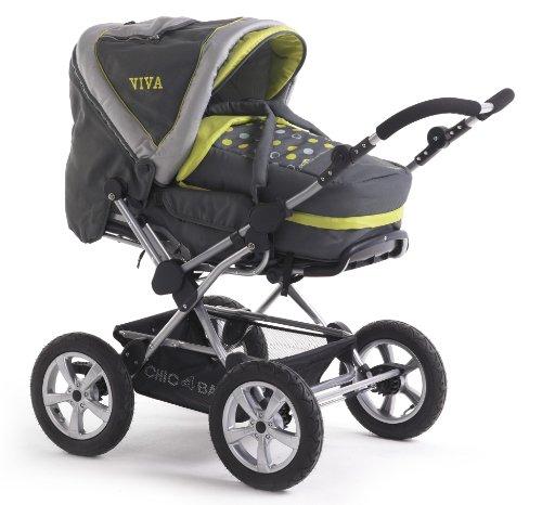 CHIC 4 BABY, Passeggino combinato Viva con maniglione orientabile, ruote pneumatiche e borsa portaoggetti, collezione 2014, Giallo (Lemontree)