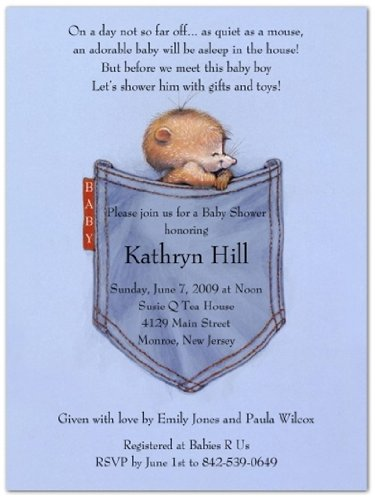 Blue Jean Mouse Baby Shower Invitations - Set Of 20 front-1010125