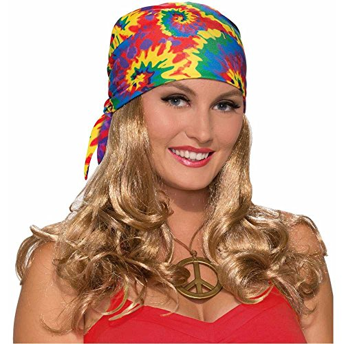Hippie Tie-Dye Headscarf with Curly Blonde Wig - One Size