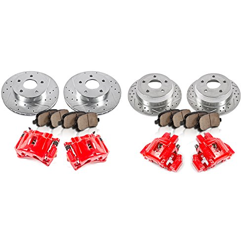 Callahan FRONT + REAR Red [4] Calipers + [4] Rotors + Quiet Low Dust [8] Ceramic Pads Performance Kit