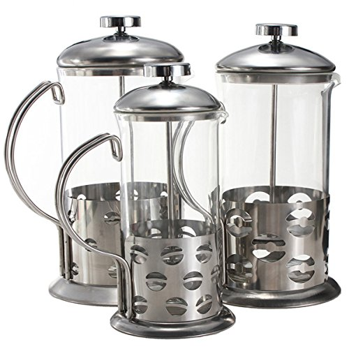 """800ml Stainless Steel Glass Teapot Cafetiere French Coffee Tea Filter Press Plunger"" shopping"