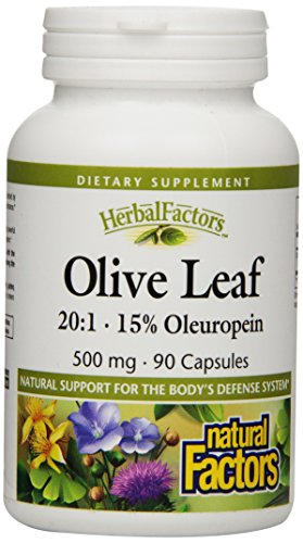 Natural Factors Olive Leaf Extract 500Mg Capsules, 90-Count