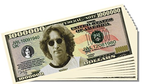 Beatles John Lennon Novelty Million Dollar Bill - 10 Count with Bonus Clear Protector & Christopher Columbus Bill