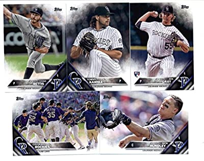 2016 Topps Baseball Series 1 Colorado Rockies Team Set of 10 Cards: Nolan Arenado(#12), Dustin Garneau(#51), Jorge De La Rosa(#87), Charlie Blackmon(#93), Ben Paulsen(#108), Chad Bettis(#149), Colorado Rockies(#202), Tommy Kahnle(#245), Jon Gray(#284), Ni