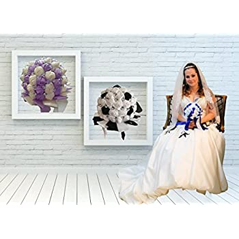 FAYBOX Crystal Satin Rose Bridal Bridesmaid Bouquets Wedding Flower Decor Royal Blue 2