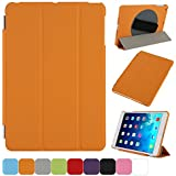 TKOOFN Front Smart Cover + 360 Degree Rotatable Back Case with Adjustable Neoprene Handle for Apple 1st Gen iPad Mini & 2nd Gen iPad Mini with Retina Display + Stylus + Screen Protector + Cleaning Cloth, Orange - BHK5107