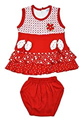 kandyfloss Baby Girls' Cotton Clothing Set (MRHKF-RED-FROCK-56--0-3 Months, Red, 0-3 Months)