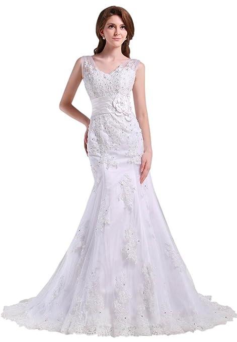 GEORGE BRIDE Strap V Neck Mermaid Lace Over Satin Chapel Train Wedding Dress