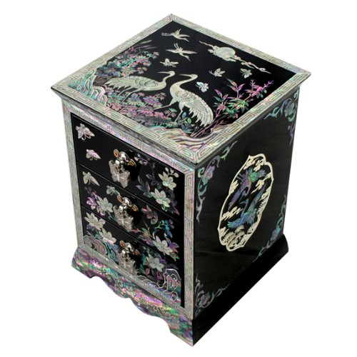 Mother of Pearl Black Asian Lacquer Women Wooden Jewellery Trinket Keepsake Treasure Gift Girls Ring Necklace Box Chest Case Storage Organizer with Flower and Crane Design