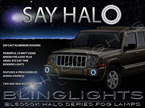 2006-2010 Jeep Commander Halo Angel Eye Bumper Fog Lamps Lights Kit (Angel Eyes Fog Light Kit compare prices)