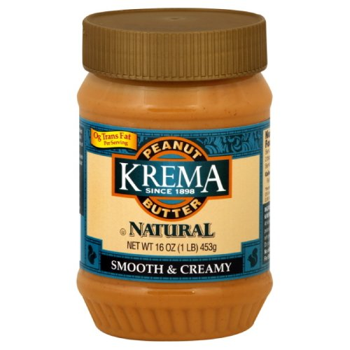 Krema Natural Creamy Peanut Butter, 16-Ounce (Pack of 6)