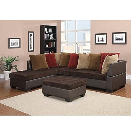 Global Furniture Corduroy Sectional Sofa, Chocolate Brown PVC Finish