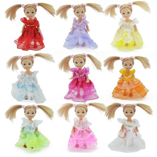 E-TING 5 Handmade Fashion Summer Party Clothes Dress Gown for Barbie Kelly Size Dolls - 1