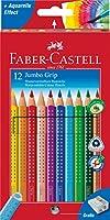 Faber-Castell 110912 Crayons de couleur Jumbo GRIP étui de 12