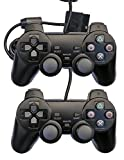 Donop 2 pack black Wired Game Pad Game Gaming Controller Joypad Gamepad Console Controller Joysticks Black for Sony Playstation 2 Ps2 w/ Dual Shock Dual Vibration
