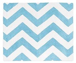 Turquoise and White Chevron Zig Zag Accent Floor Rug