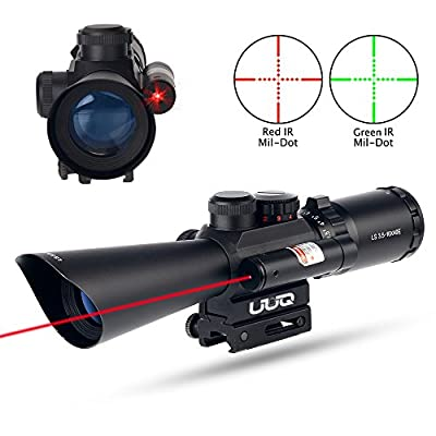 UUQ Tactical 3.5-10X40 illuminated Red/Green Mil Dot Rifle Scope W/ Red Laser Sight Fit 11/20mm Picatinny Rail (12 Month Warranty) by UUQ