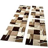 Bettumrandung Läufer Teppich Modern Karo Braun Creme Beige Läuferset 3 Tlg., Grösse:2mal 80×150 1mal 80×300