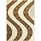 Onyx Ivory Coffee Waves Rug Size: 53 x 77 q