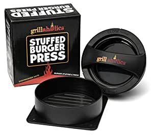 Grillaholics Stuffed Burger Press - Lifetime Guarantee - Best Hamburger Patty Maker in BBQ Grill Accessories - Premium Quality Grilling Tools for Your Home Kitchen - Make Perfect Burgers