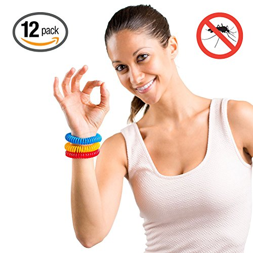 Hoont™ Natural Mosquito Repellent Stretchable Wristband - Pack of 12 / Powerful Indoor & Outdoor Protection - Special Formulated Natural Plant-derived Ingredients - (Assorted Colors)