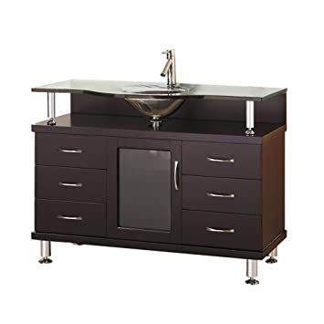 Virtu USA MS-48-G-ES Vincente 48-Inch Single Sink Bathroom Vanity with Includes Tempered Glass Countertop with Integrated Glass Basin, Espresso Finish