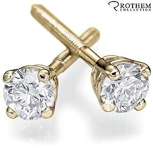 Real 0.28 ct D VS2 Yellow Gold Diamond Stud Earrings Gift Girlfriend New Mother Pierced Ears 02643526