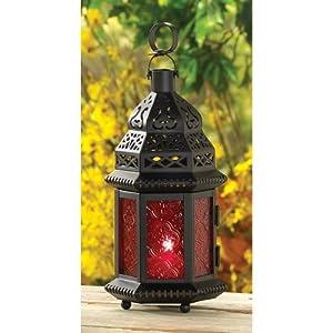 Red Glass Metal Moroccan Candle Holder Hanging Lantern (1 Lantern)