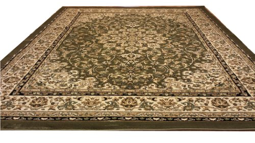 D603 Medallion Traditional Green 5x8 Actual Size 5'3x7'2 Rug