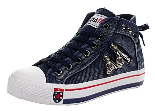 Wuyiwan Women Skull Fashionable Zipper Lace-up Flats Canvas Shoes(8 B(M) US, Navy)
