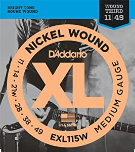 D'Addario EXL115W Nickel Wound Electric Guitar Strings, Medium/Blues-Jazz Rock, Wound 3rd, 11-49
