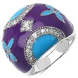 6.90 Grams White Cubic Zircon Purple & Turquoise Enamel .925 Sterling Silver Ring