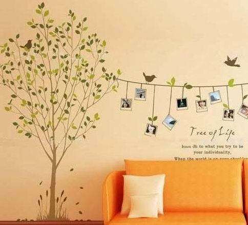 Diy Removable Wall Decal Wallpaper,Mural,Fresco,Tv Background,Wall Poster Sticker Frame Tree (Photo Tree, Memory Tree) front-1009637