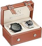Joshua & Sons Men's JS40BK & JS85SSB Analog Display Swiss Quartz Black & Silver Watch SET