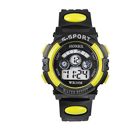Unisex Quartz Watch Waterproof Dual-Time Men'S Women'S Sport Digital Quartz Yellow Wrist Watch With Date /Alarm /Timer Resin Strap