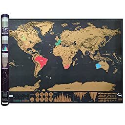 Scratch It! Map of the World Large Black & Gold Deluxe Edition Poster 32.5 inches X 23.4 inches