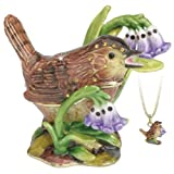 Hidden Treasures Trinket Box - Wren In Bluebells