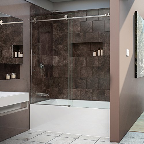 DreamLine Enigma-X 56-59 in. Width, Frameless Sliding Tub Door, 3/8