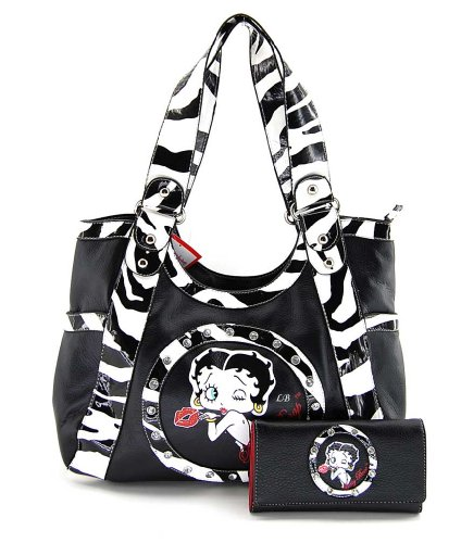 Betty Boop Zebra Large Tote Bag and Wallet Set, BQ10150