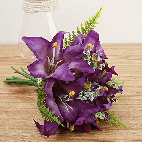 Meiliy 13'' Silk Artificial Calla Lily Flower Bouquet for Home Wedding Office Party Decoration,Purple