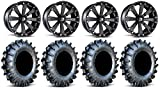 "Bundle - 9 Items: MSA Black Kore 14"" ATV Wheels 30"" MotoBoss Tires [4x156 Bolt Pattern 12mmx1.5 Lug Kit]"