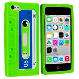 Neon Green Cassette Retro Tape Silicone Rubber Gel Soft Skin Case Cover for Apple iPhone 5C