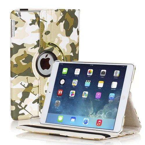 TNP Apple iPad Air Case (iPad 5th Gen, 2013 Model) Tablet - 360 Degree Rotating Stand PU Leather Smart Cover Case with Built-in Magnet for Auto Sleep & Wake Feature & Stylus Holder, Camouflage Green (Waterproof Cas For Ipod 5 compare prices)