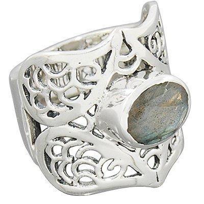 925 Sterling Silver Natural Labradorite Gemstone Ring Jewelry Size 7