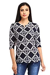 Snoby Blue Digital Print V Neck Top(SBY1207)