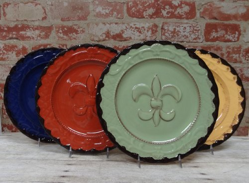 "Tuscany Hand Painted Fleur De Lis 10""W Dinner Plates Set Of 4Pcs, 82011 By Ack back-279334"